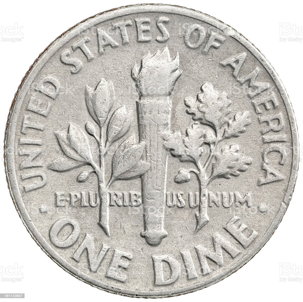 Reverse of the 1966 Roosevelt Dime royalty-free stock photo