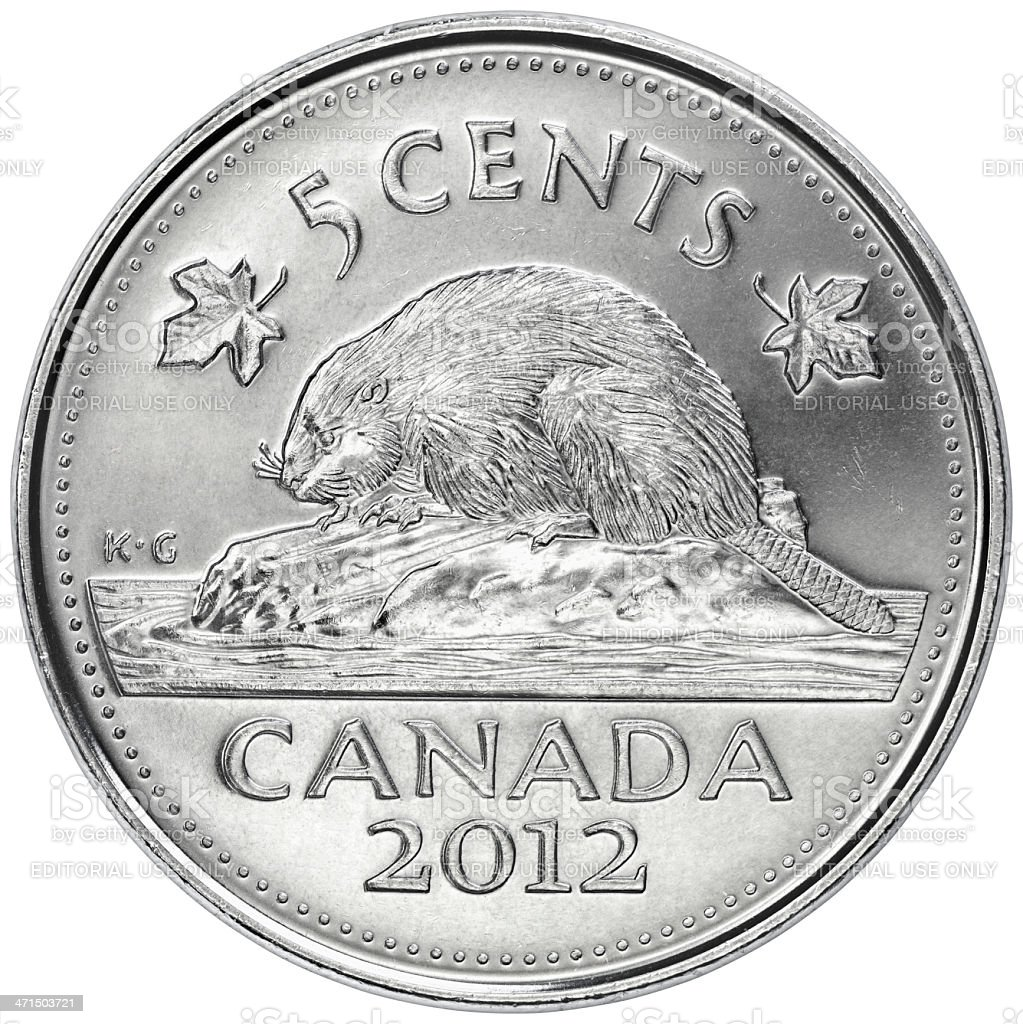 Reverse of the Canadian Five Cents Coin stock photo