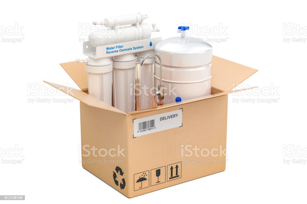 Reverse osmosis system inside parcel, delivery concept. 3D rendering isolated on white background vector art illustration
