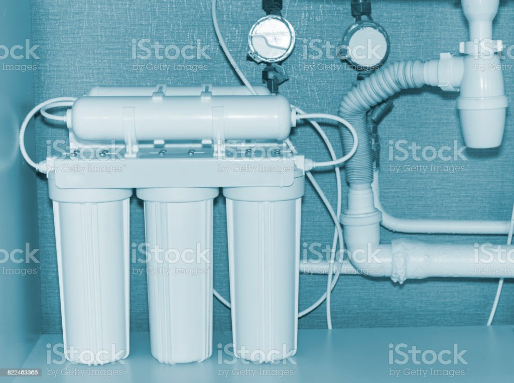 Reverse osmosis water purification system. stock photo