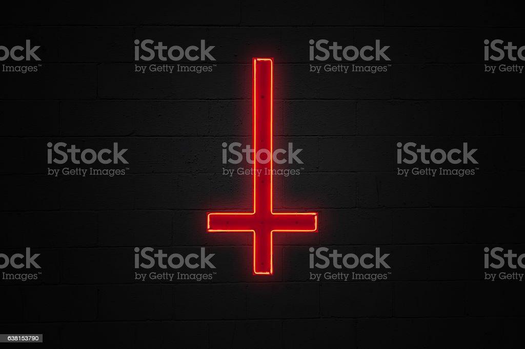 Reverse red cross neon light stock photo