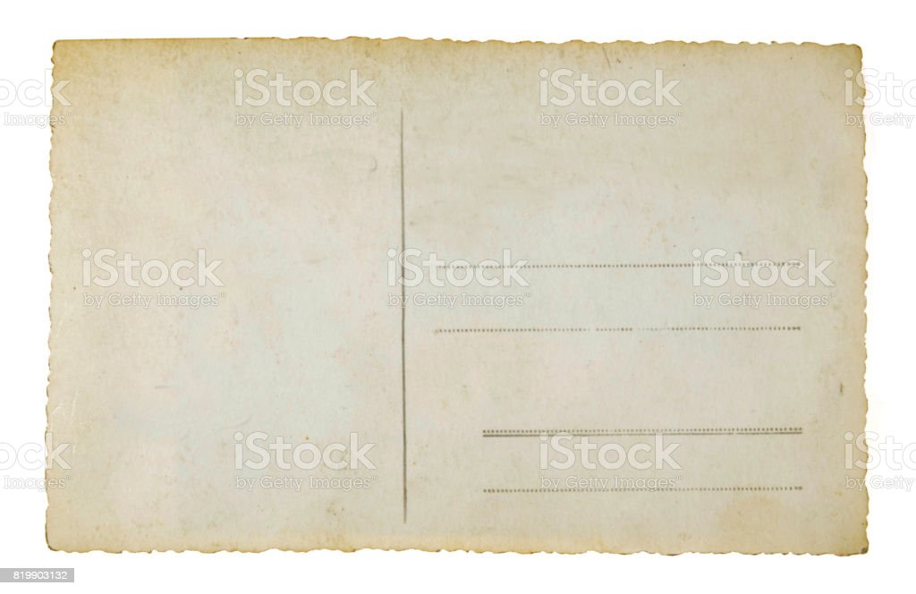 Reverse side of an old postal card stock photo