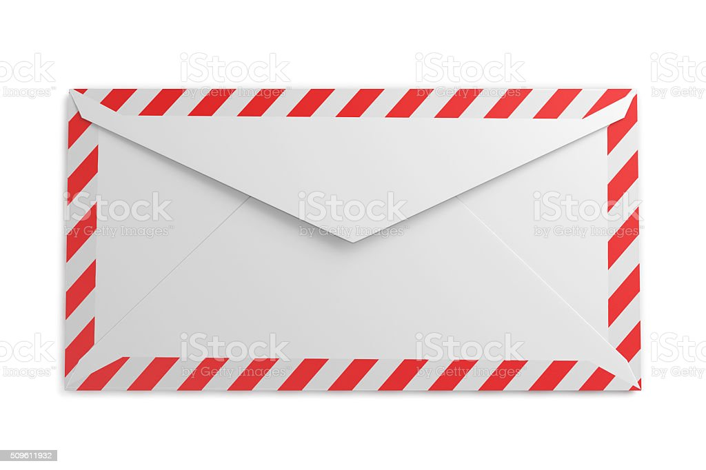 Reverse side of the envelope with striped frame stock photo