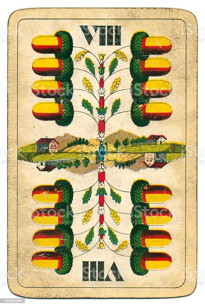 Reversible eight of acorns William Tell Four Seasons Hungary 1890 stock photo