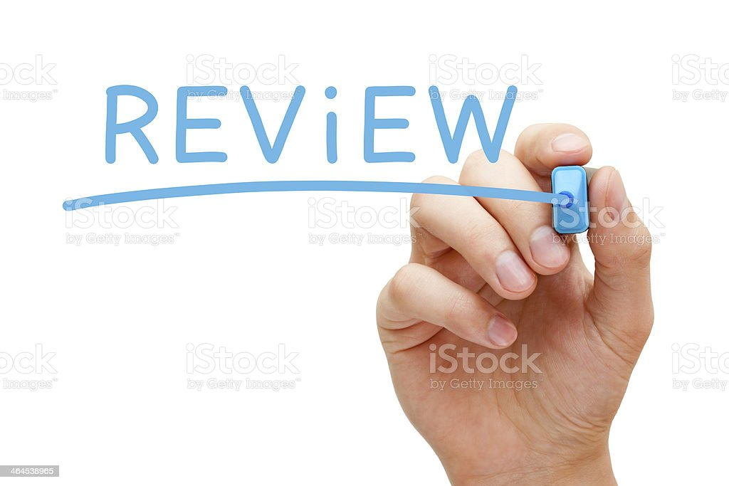 Review Blue Marker stock photo