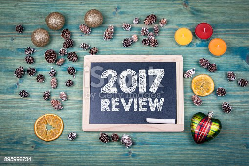 istock 2017 review. Christmas and holiday background. Ornaments and decor on a wooden table 895996734
