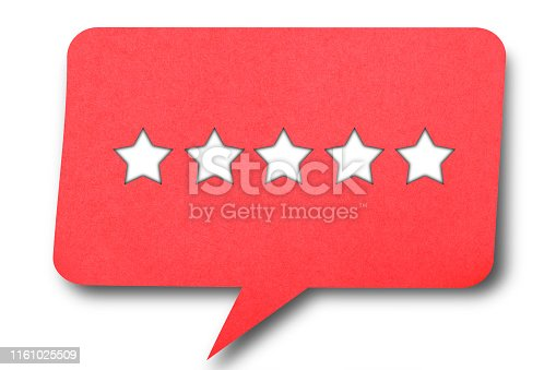 Paper speech bubble with 5 stars on it.