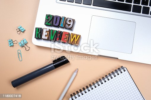 istock 2019 Review. Financial reports, summary, achievement of goals, New Year concept 1183327418