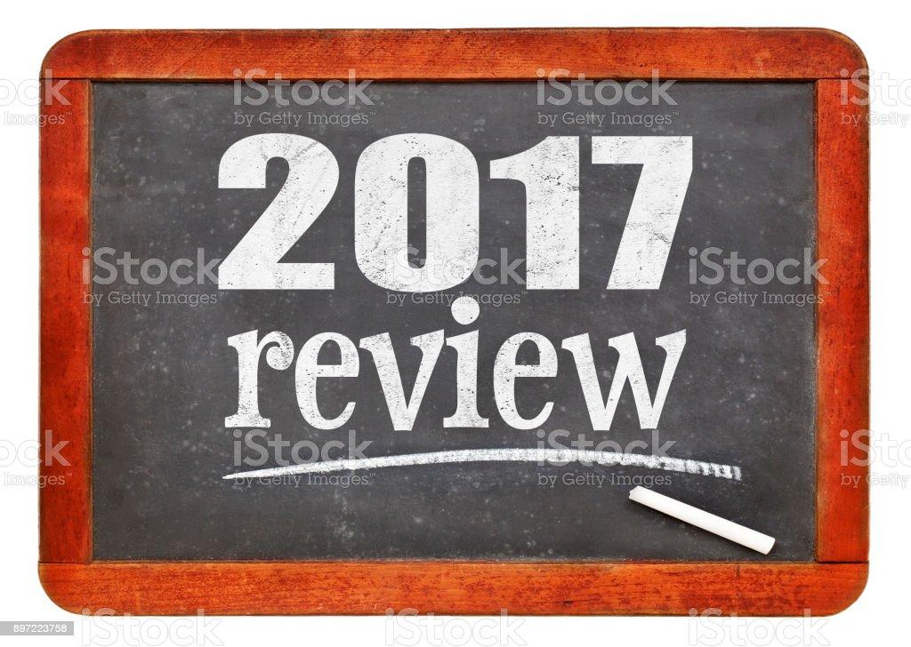 2017 review on blackboard stock photo