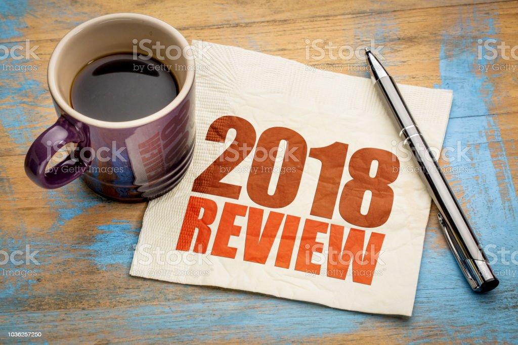 2018 review on napkin stock photo
