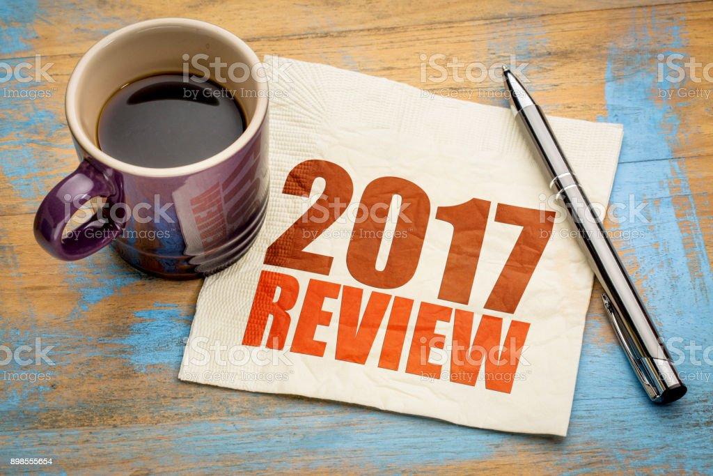 2017 review on napkin stock photo