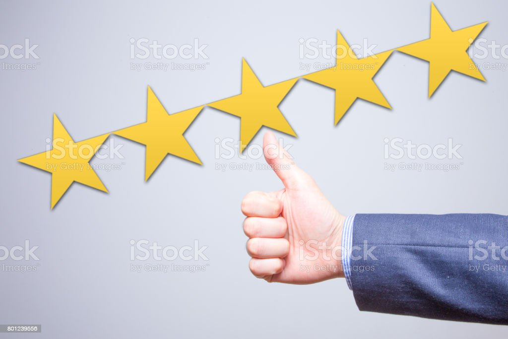 Review, rating, ranking, evaluation and classification concept. Businessman is satisfied with company 5 stars rating. Isolated on white stock photo