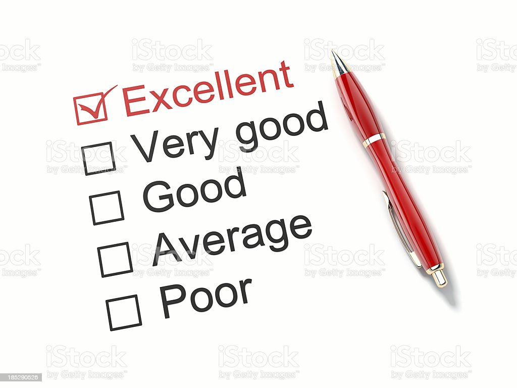 A review sheet with a ticket Excellent box royalty-free stock photo