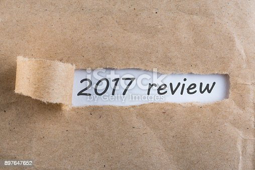 istock 2017 review - uncover letter. A passing year summary and review concept 897647652