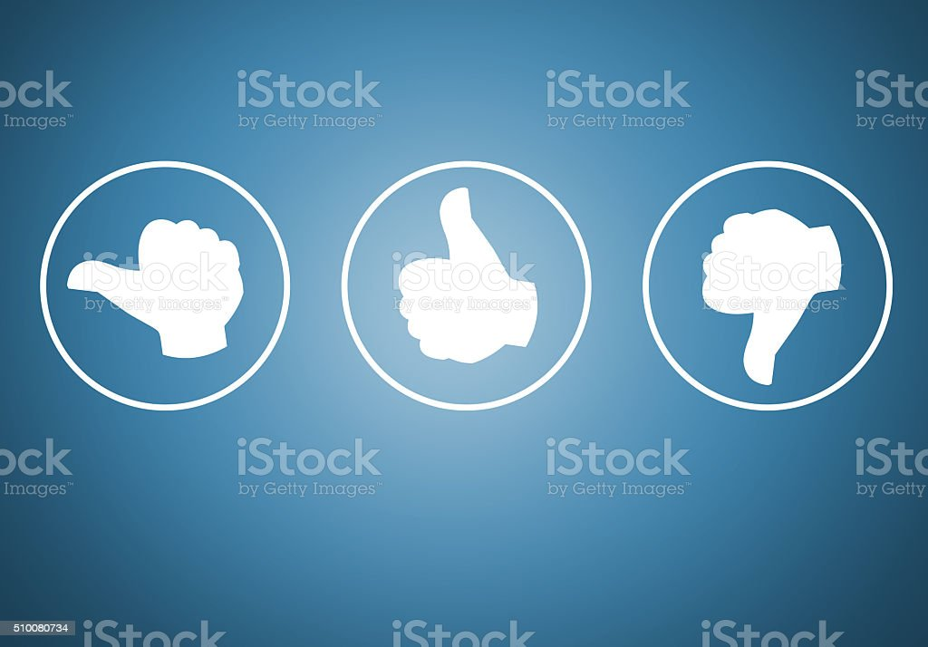 Review with your thumb icons concept stock photo