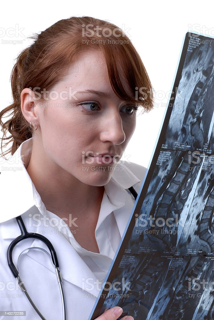 Reviewing an MRI royalty-free stock photo