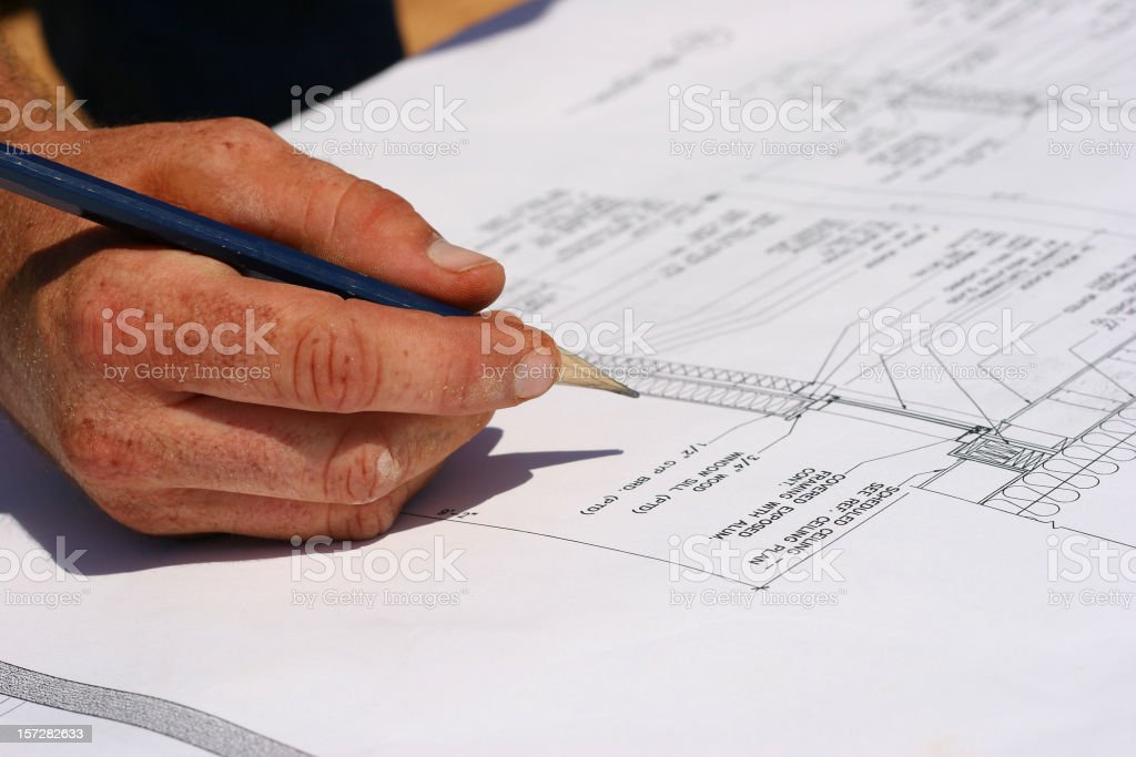 Reviewing the Blueprints royalty-free stock photo