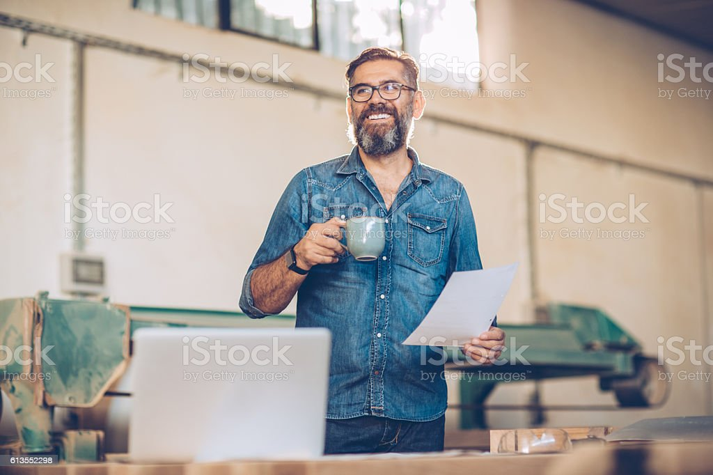 Reviewing the project details stock photo