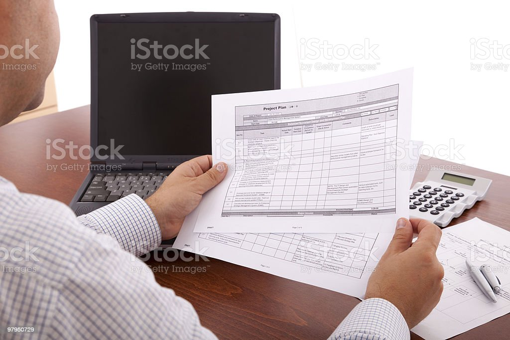 Reviewing the project royalty-free stock photo