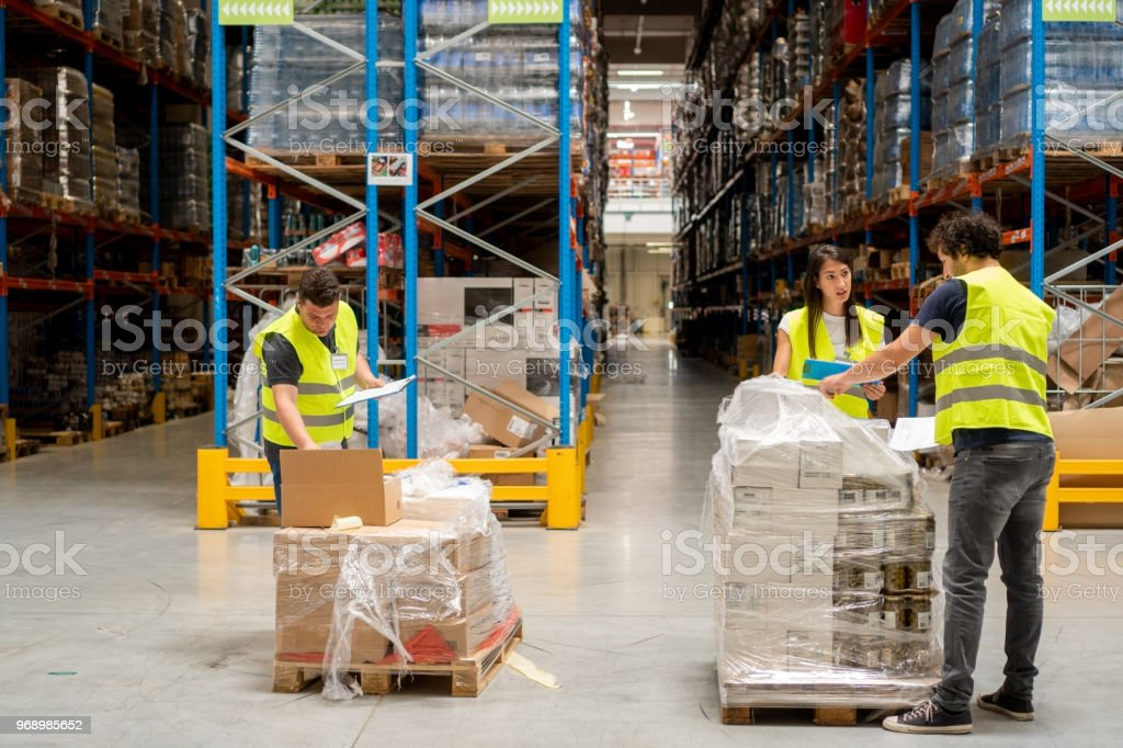 Revision of inventory in warehouse stock photo