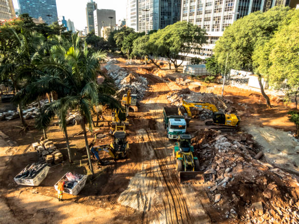 Revitalization works in the Anhangabau Valley, in the central region of São Paulo. After the work, the municipal administration will grant maintenance to the private setor stock photo