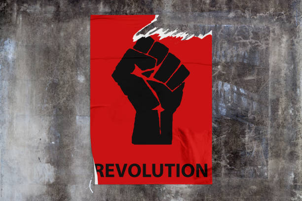 Revolution poster stock photo