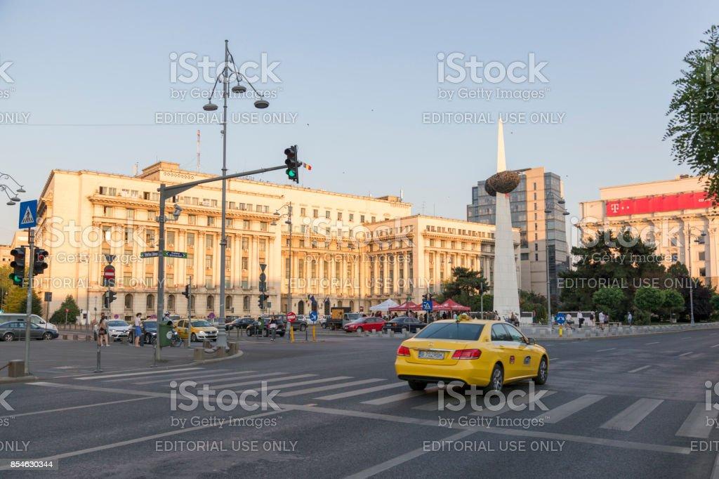 Revolution Square in Bucharest, Romania. stock photo