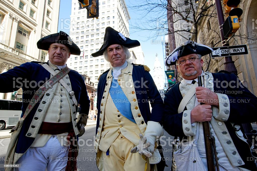 Revolutionary Army Reenactors at Philly Veterans Day Parade stock photo