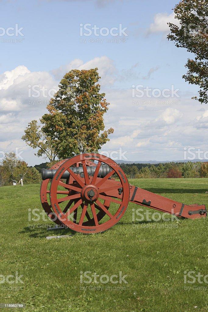 Revolutionary war cannon at Saratoga New York stock photo