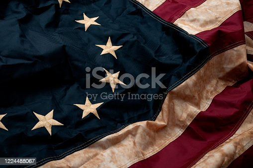 istock Revolutionary war, patriotism and birth of the United Sates of America concept with close-up on the original 13 star American flag known as the Betsy Ross 1224488067