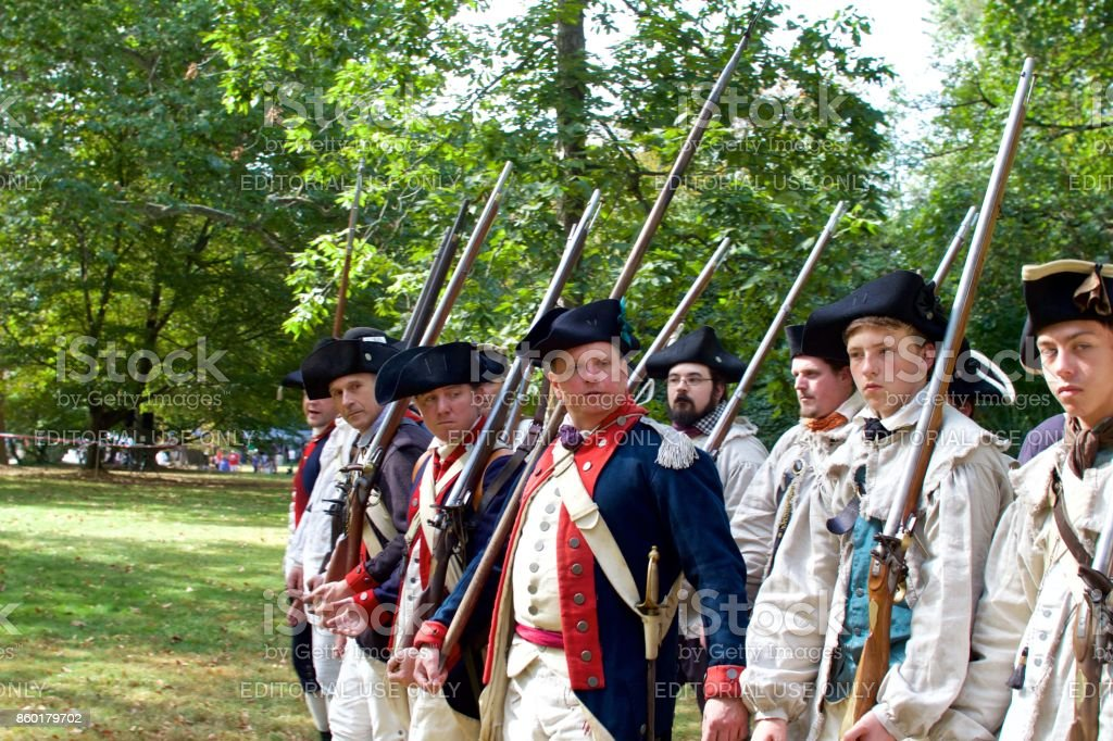 Revolutionary War Reenactors Portraying Continental Army