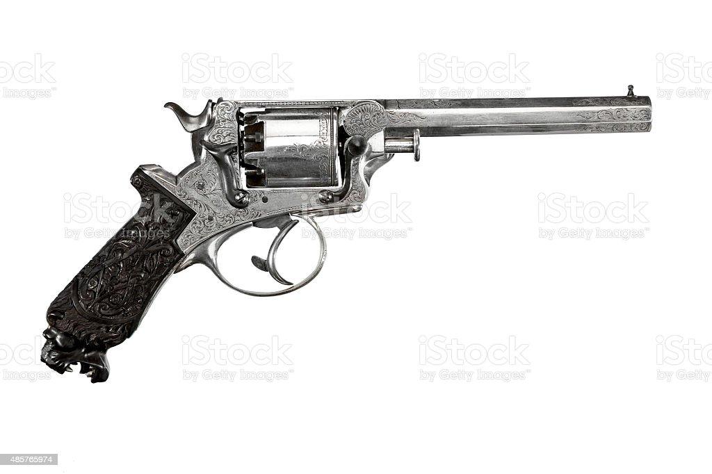 Revolver decorative ornate old vintage isolated on white stock photo