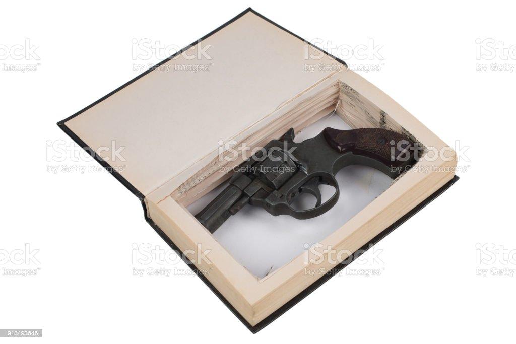Revolver Gun Hidden In A Book Stock Photo & More Pictures of