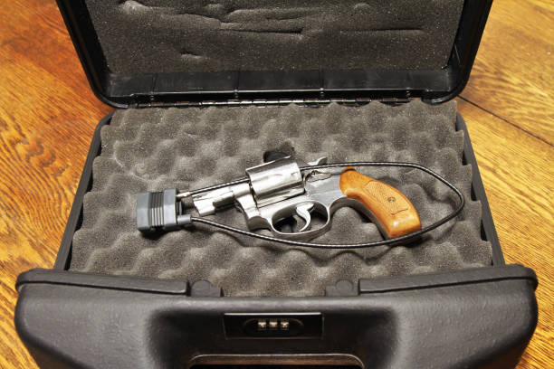 Revolver in lock case for secure storage stock photo