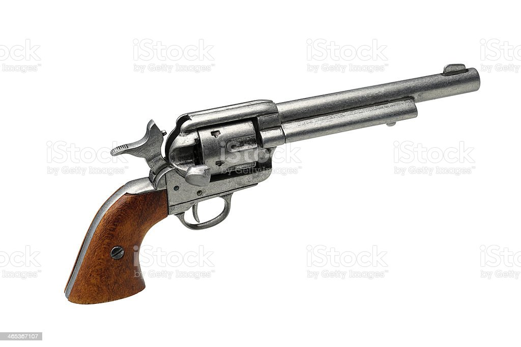 revolver pistol isolated on a white background stock photo