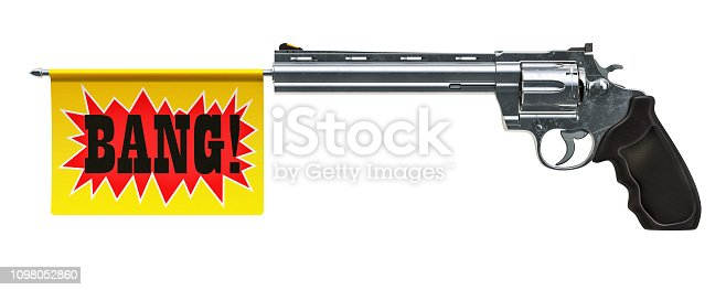 istock Revolver with a bang flag. 3D rendering isolated on white background 1098052860