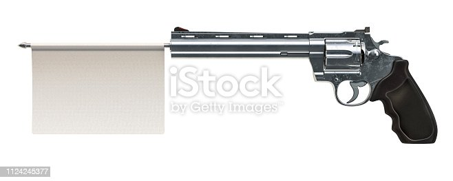istock Revolver with a white surrender flag. 3D rendering isolated on white background 1124245377