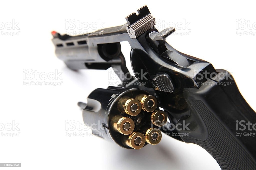 Revolver with ammo stock photo