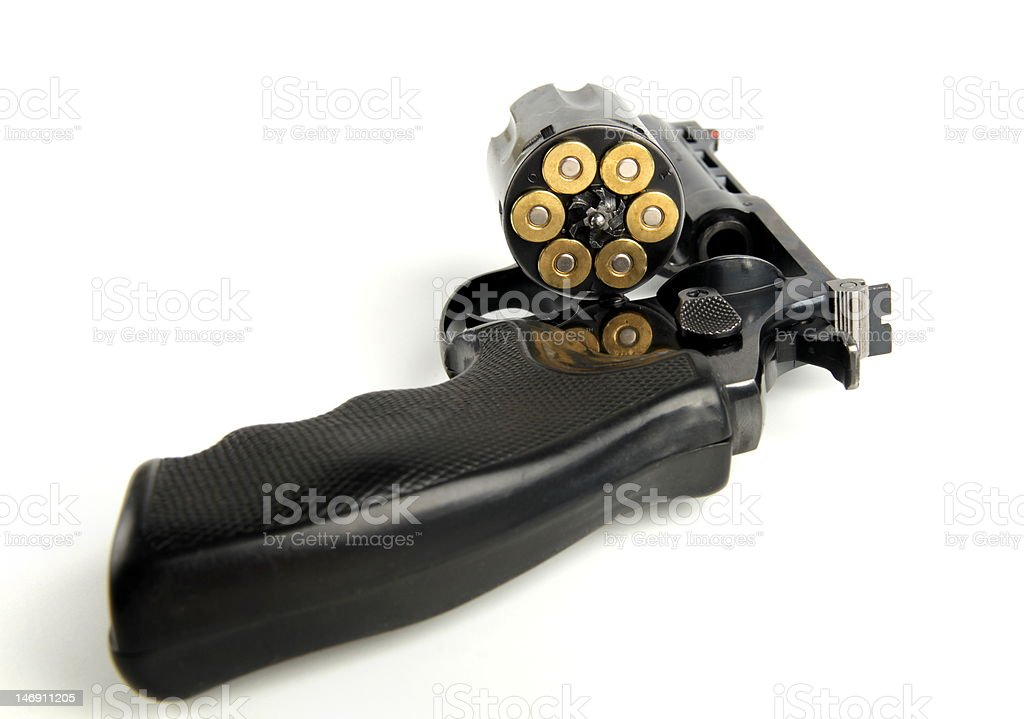 Revolver with loaded cylinder. stock photo