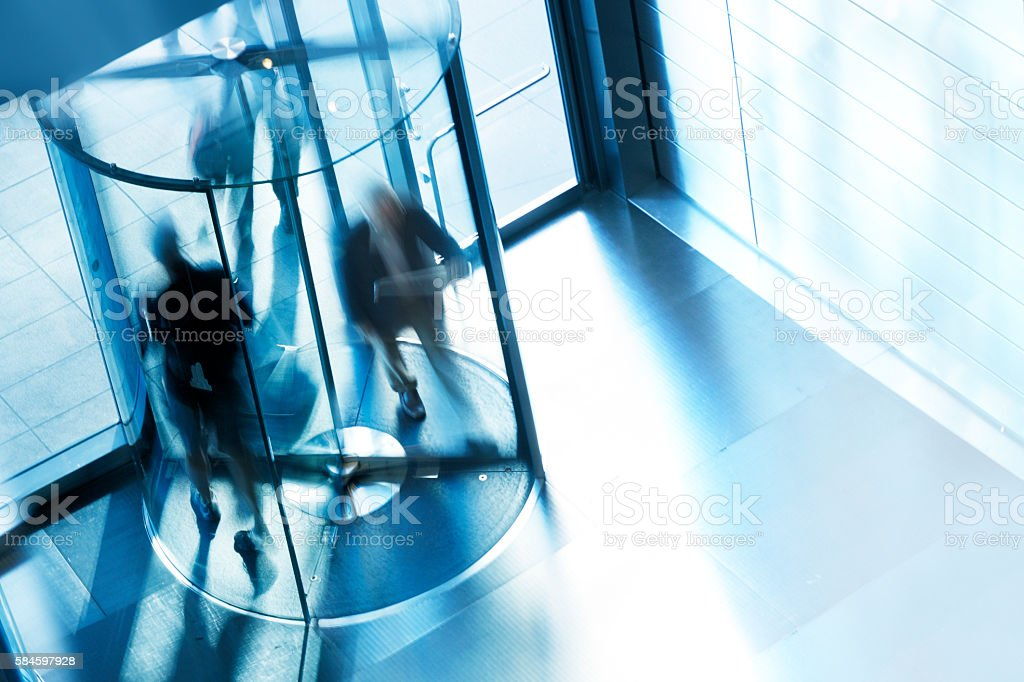 Revolving Door At Entrance To Office Building stock photo