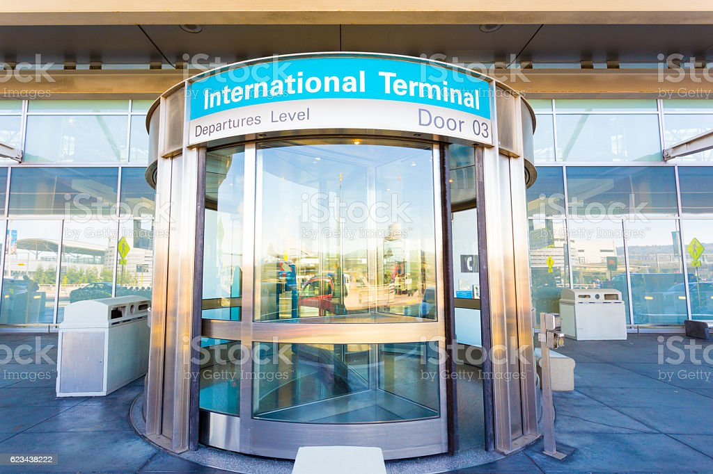 Revolving Door International Departure Level H stock photo