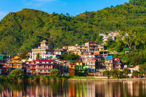 Rewalsar buddhist town near Mandi, India stock photo