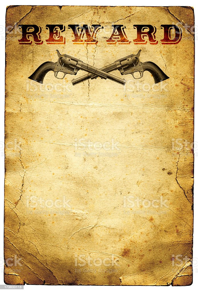 Reward Poster Wild West royalty-free stock photo