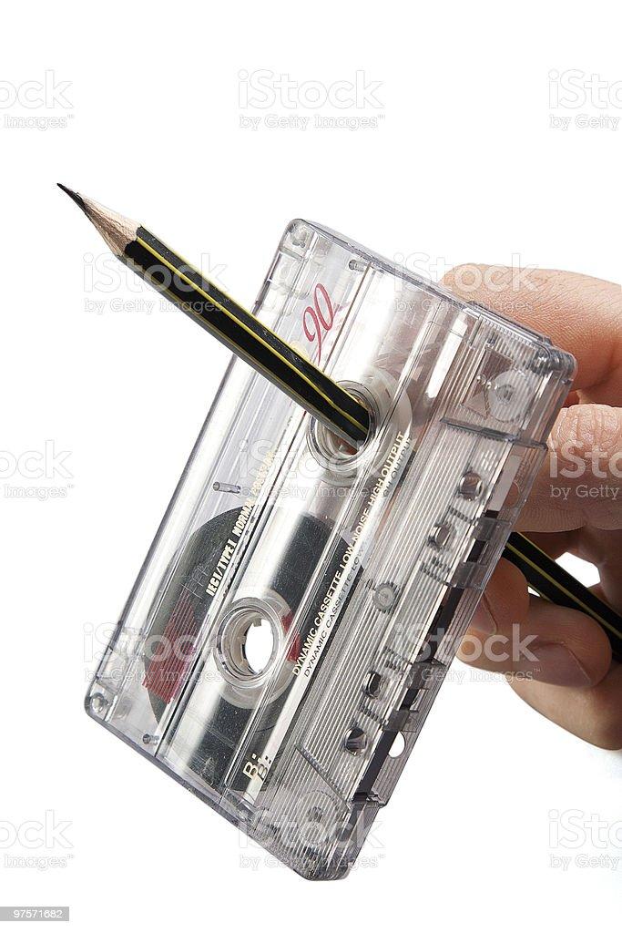 Retour du rétro cassette avec crayon photo libre de droits