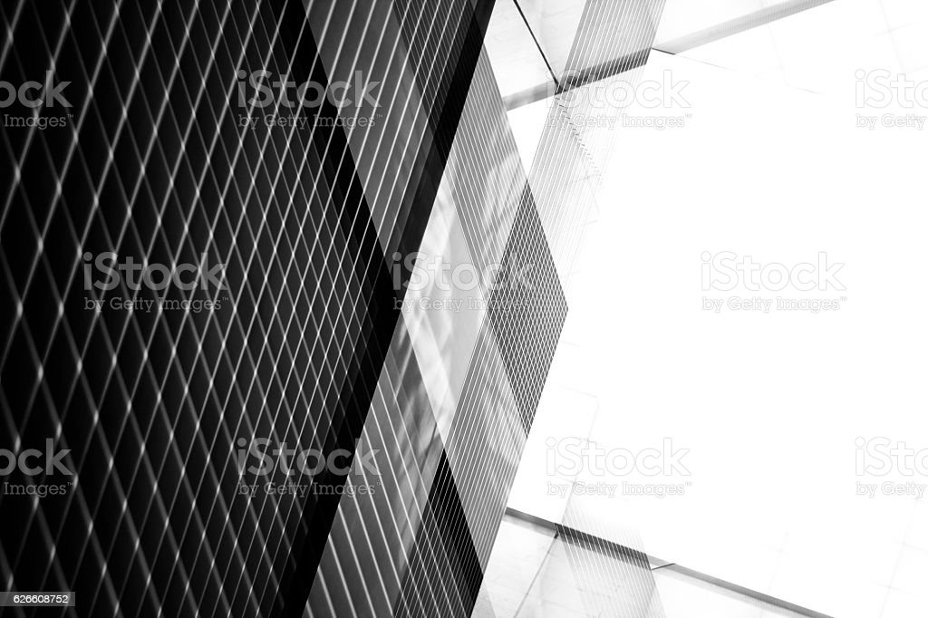Reworked photo of pitched roof / ceiling. Industrial interior fragment. stock photo