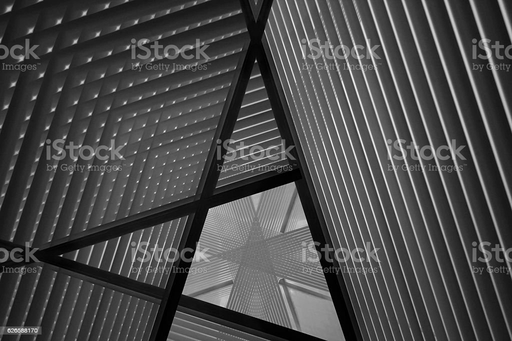 Reworked photo of sloped walls. Realistic though unreal industrial interior. royalty-free stock photo