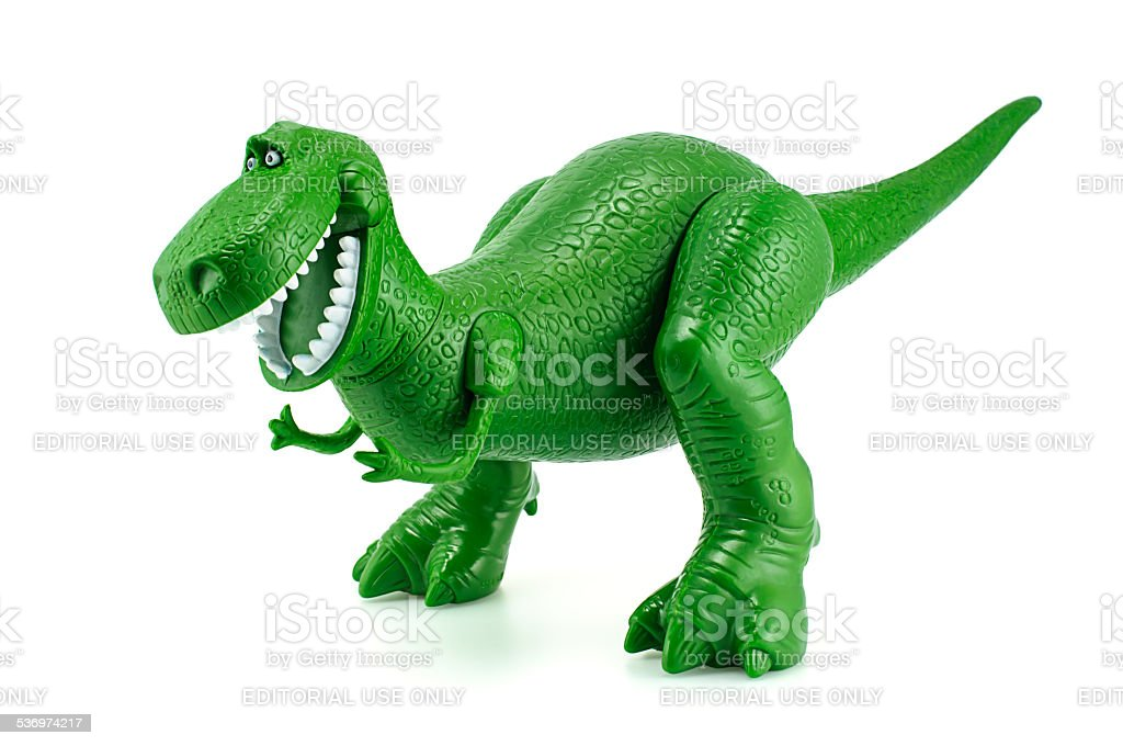 Rex the green dinosaur toy character from Toy Story. stock photo