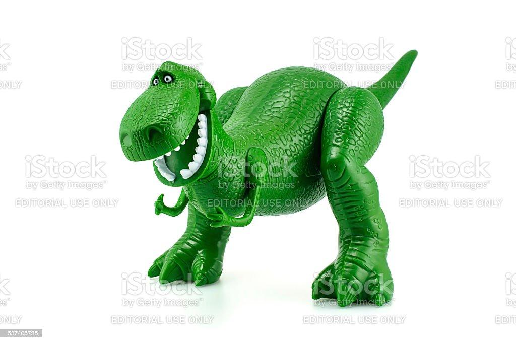 Rex, o dinossauro verde de brinquedo com personagem Toy Story - foto de acervo