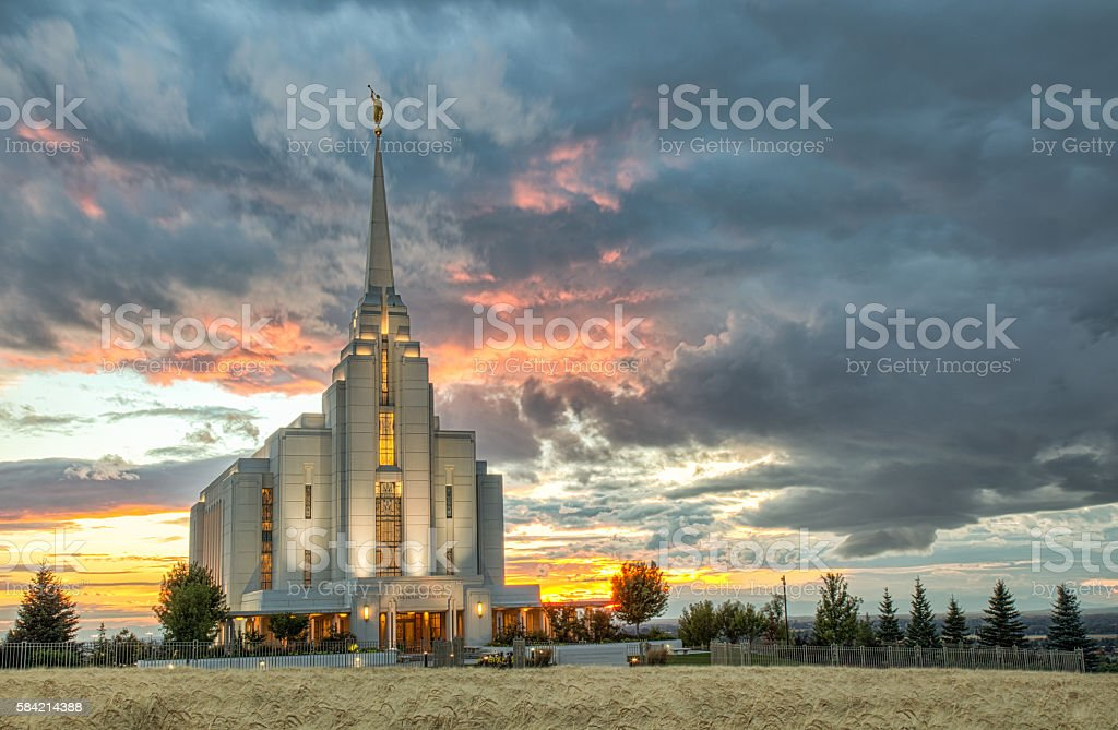 Rexburg Idaho Temple Harvest Sunset stock photo
