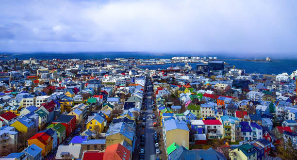 Reykiavik Iceland askyline from above stock photo